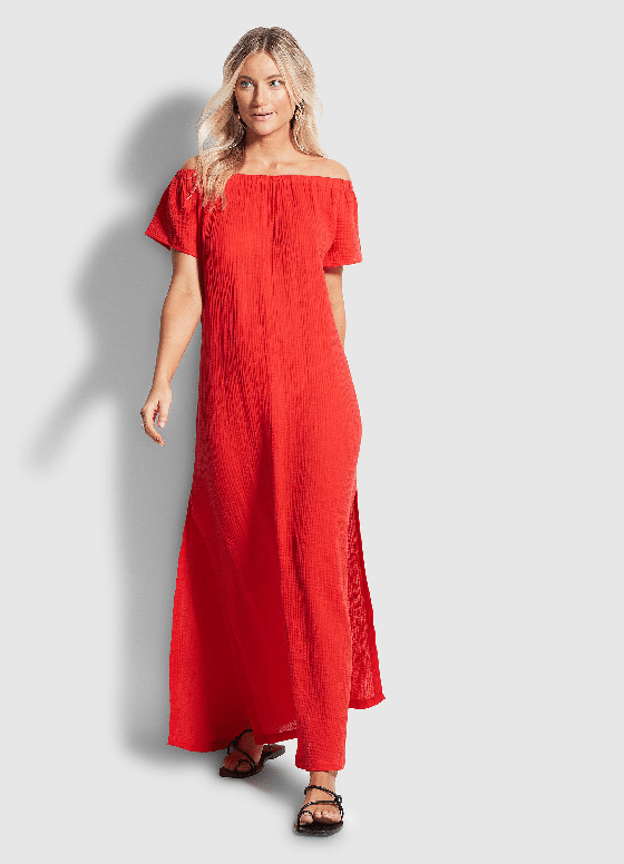 Double Cloth Strapless Dress Chilli