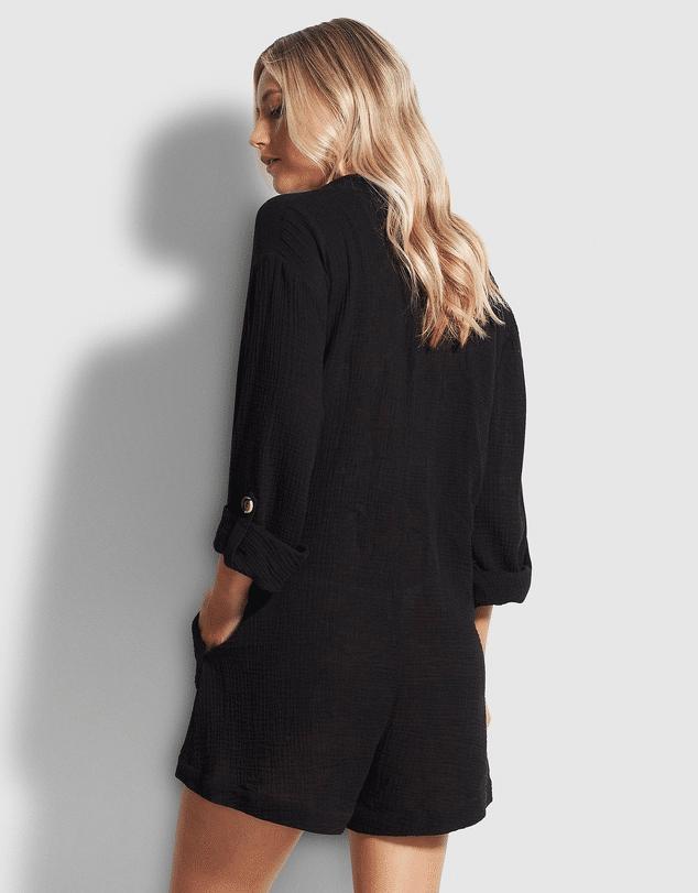 Double Cloth Playsuit Black