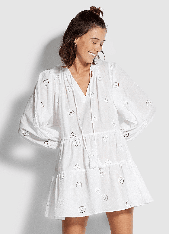 White Embroidery Tiered Dress