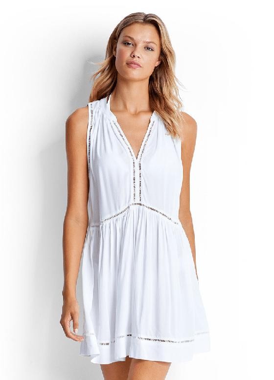 White Ladder Detail Dress