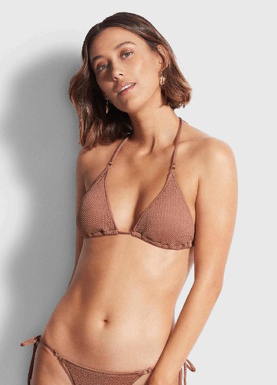 Slide Tri Bikini Top Bronze