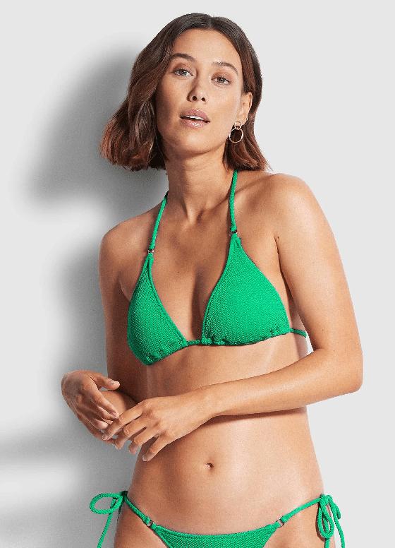 Sea Dive Slide Tri Bikini Top Jade