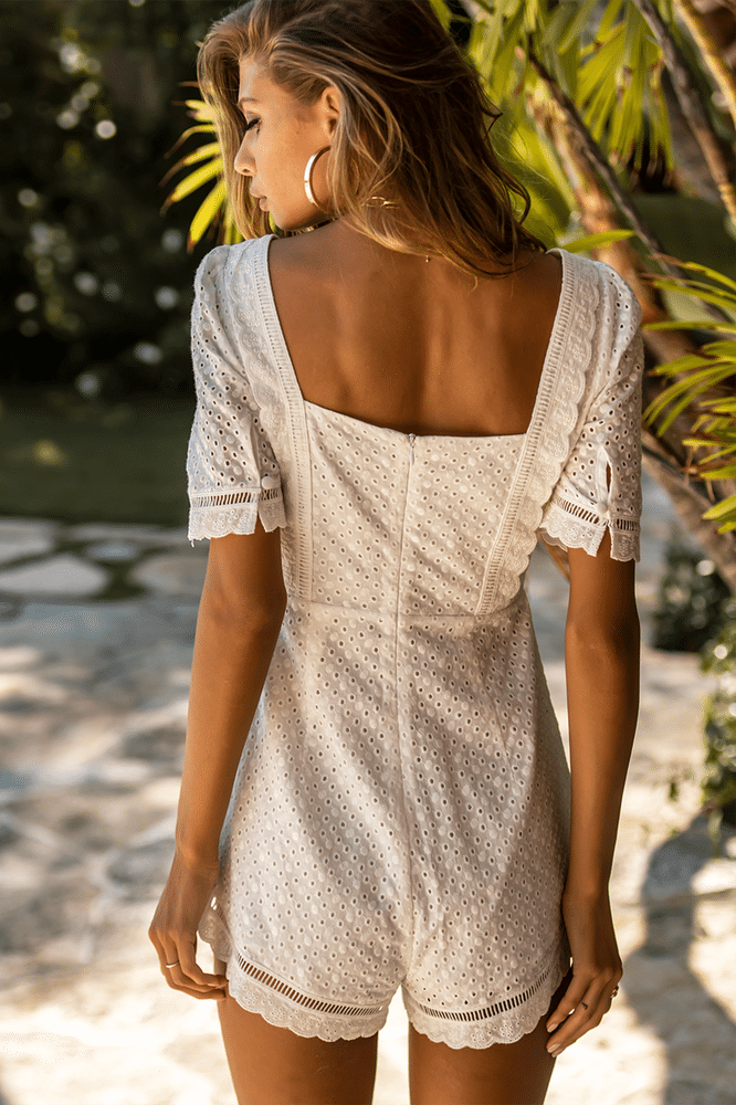 Cherisse Playsuit White