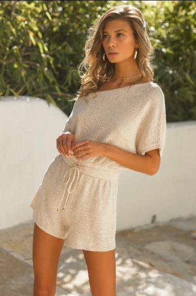 Izzy Knit Playsuit Oatmeal