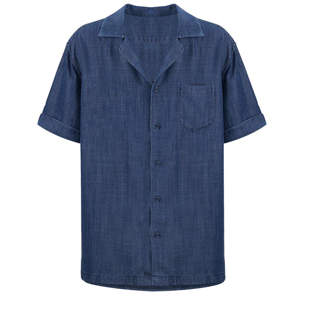 Tencel Shirt in  Navy Blue