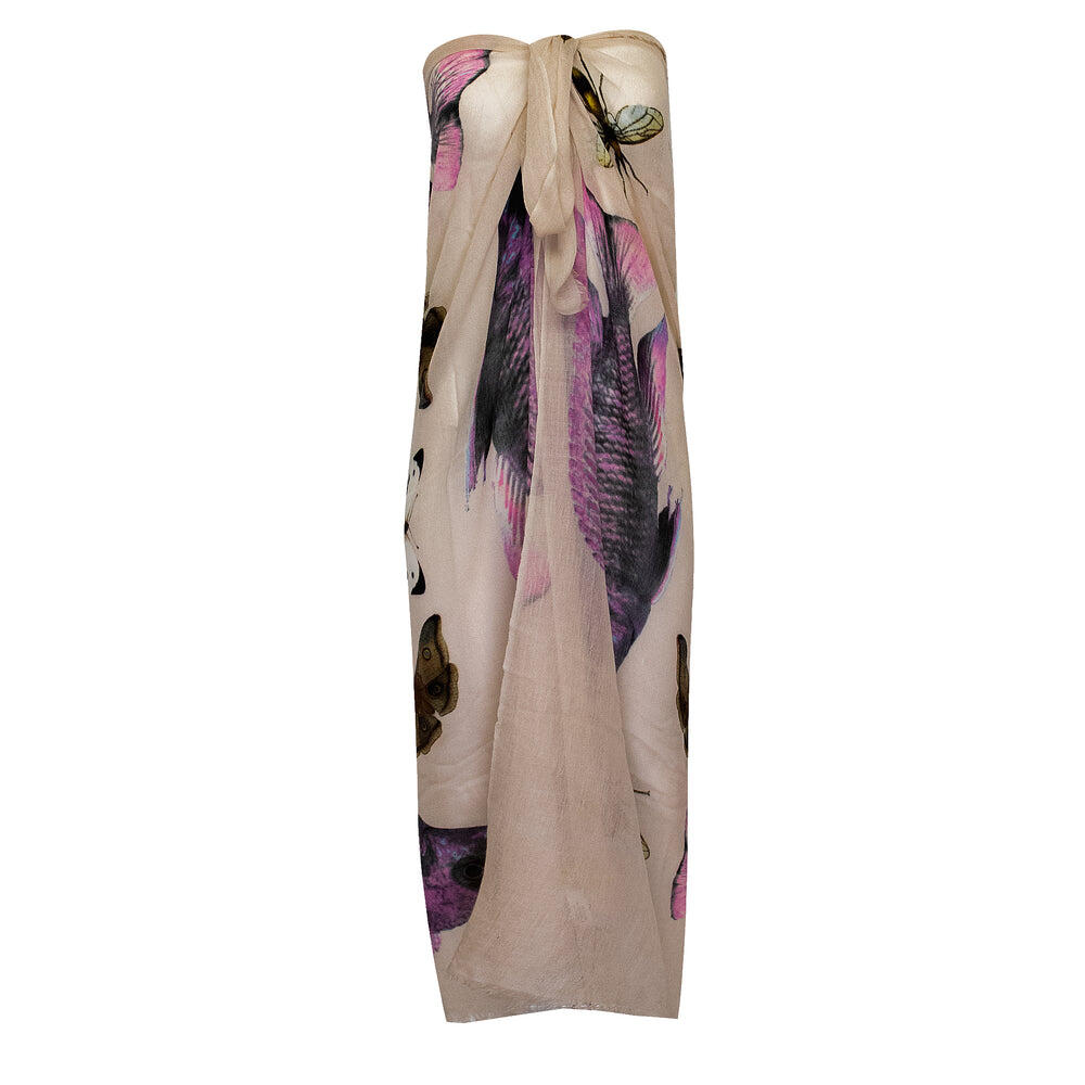 Butterfly & Fish Scarf Taupe