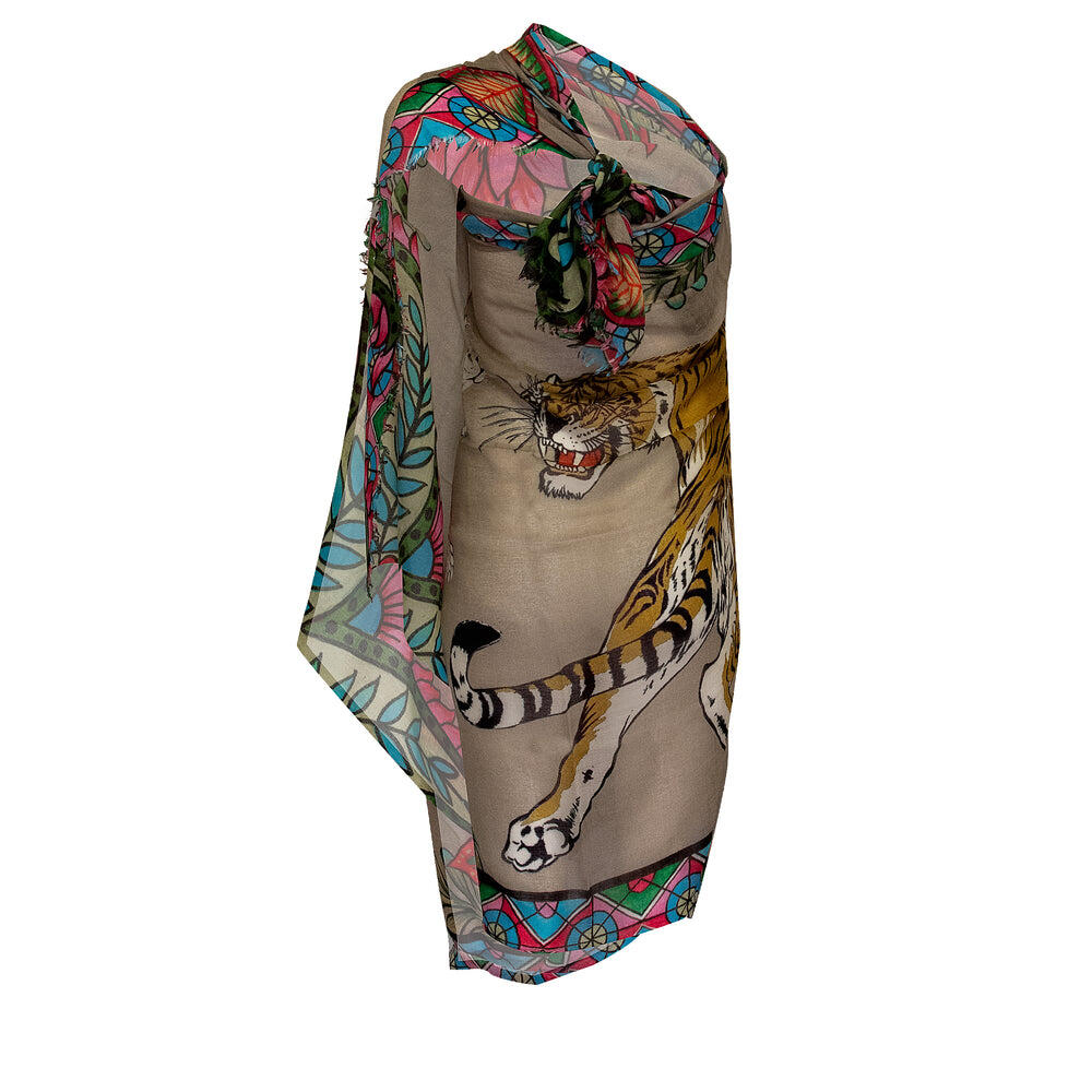 Tiger And Jungle Large Scarf Taupe