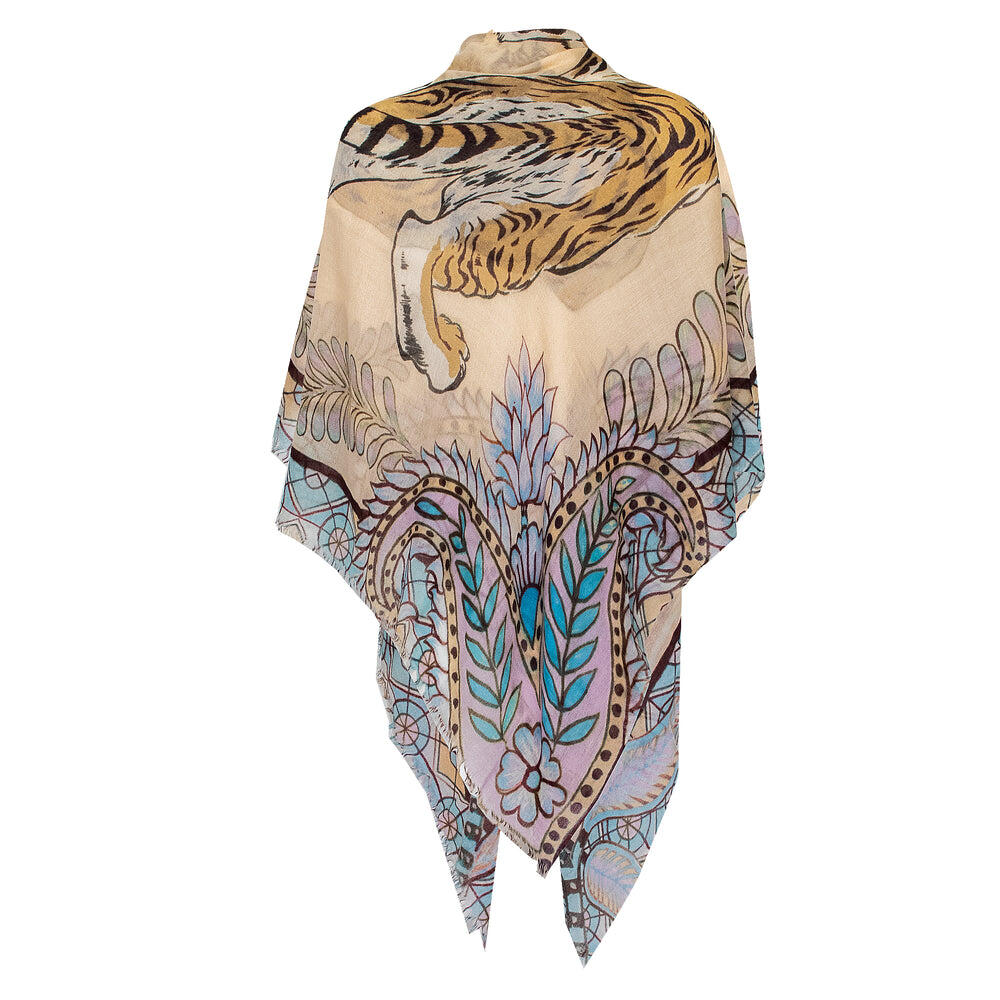 Tiger And Jungle Scarf Creme