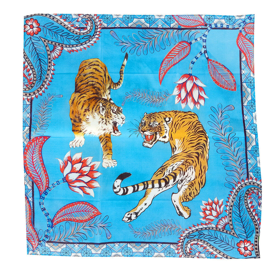 Tiger & Jungle Silk Twilly Scarf Cyne
