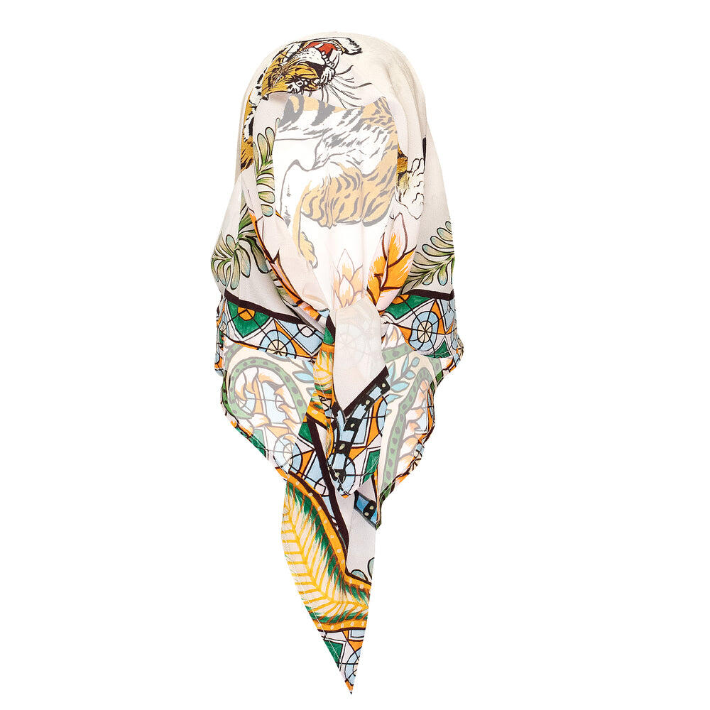 Tiger & Jungle Silk Twilly Scarf Taupe