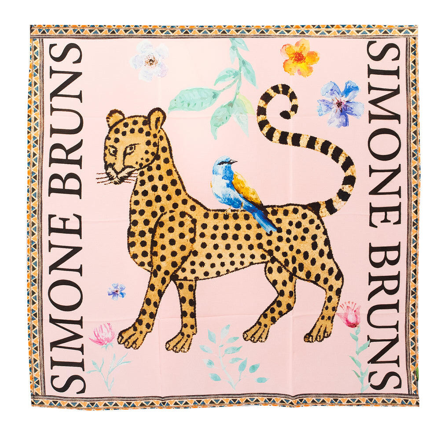 Venice Leopard Silk Twilly Scarf Rose