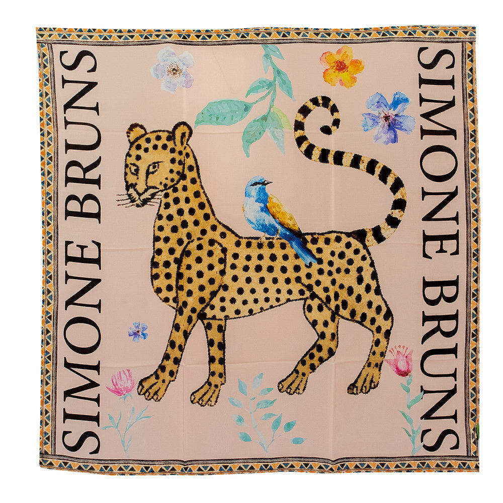 Venice Leopard Silk Twilly Scarf Taupe