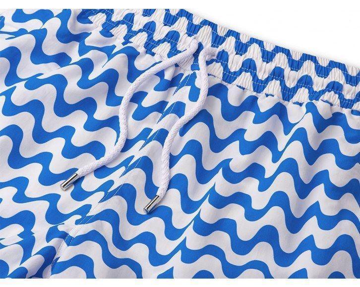 Mens Long Swim Shorts with Blue Stripe
