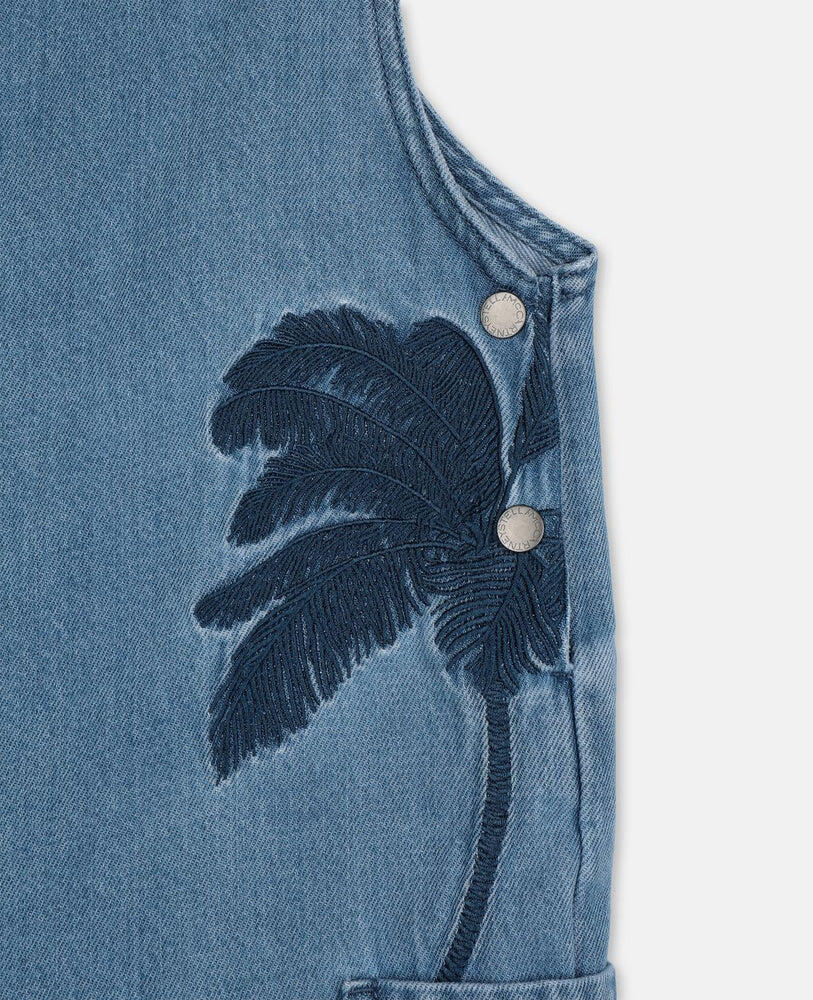 Denim Dung With Palms Embroidery