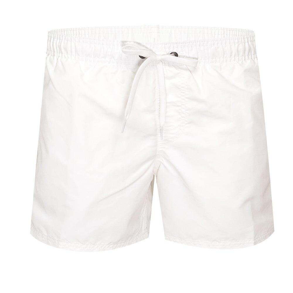 """Mens Elastic Waist 14"""" Swimtrunks Vintage White"""
