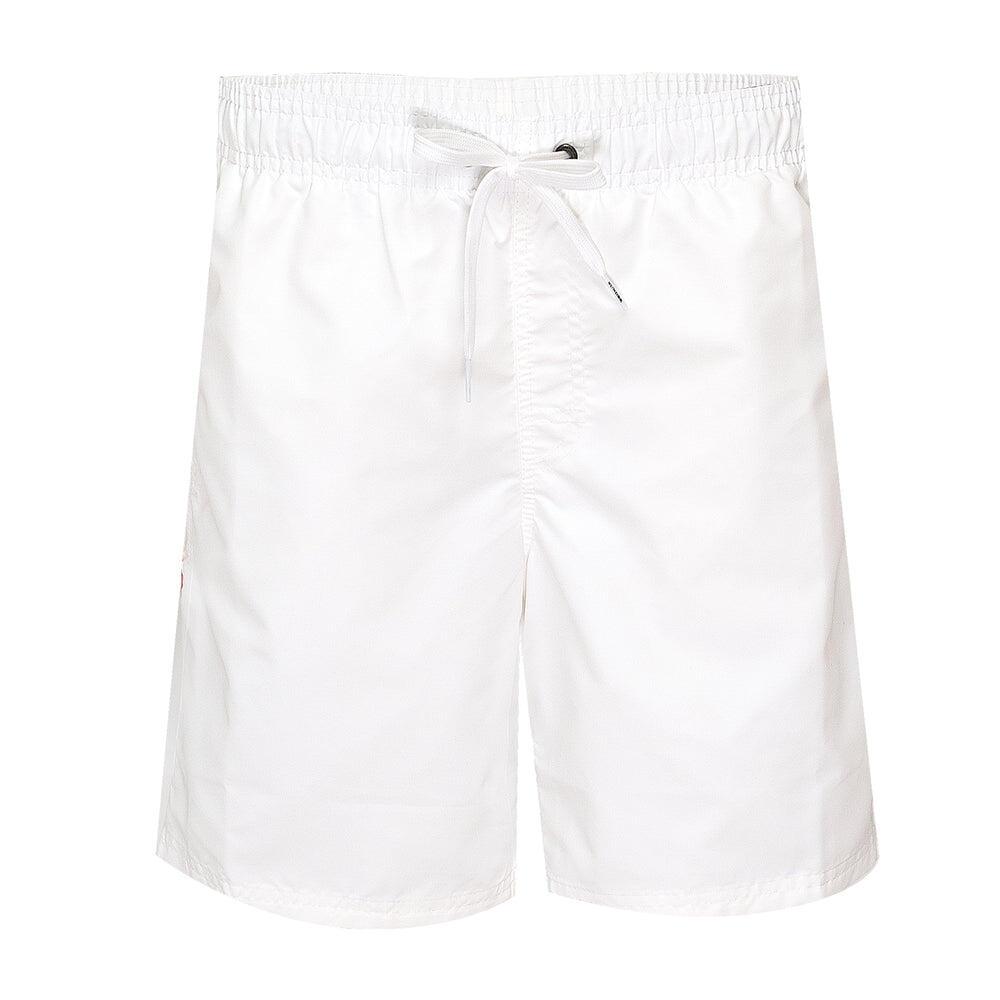 """Mens Elastic Waist 16"""" Swimtrunks Vintage White"""