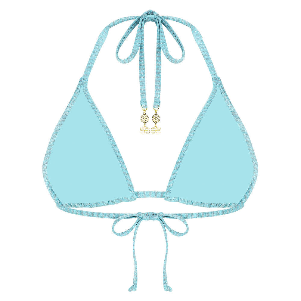 70'S Love Ruched Sliding Triangle - Turquoise
