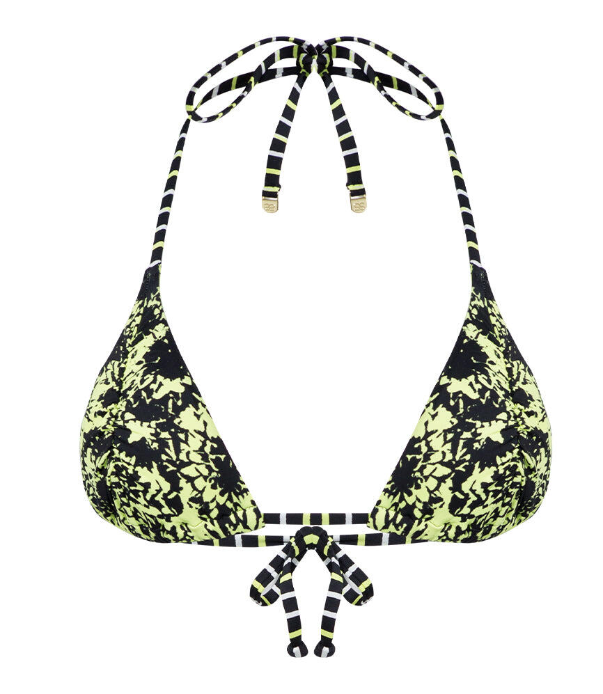 Camilla Black Lime Top Ruched Sliding Triangle - Black/ Lime