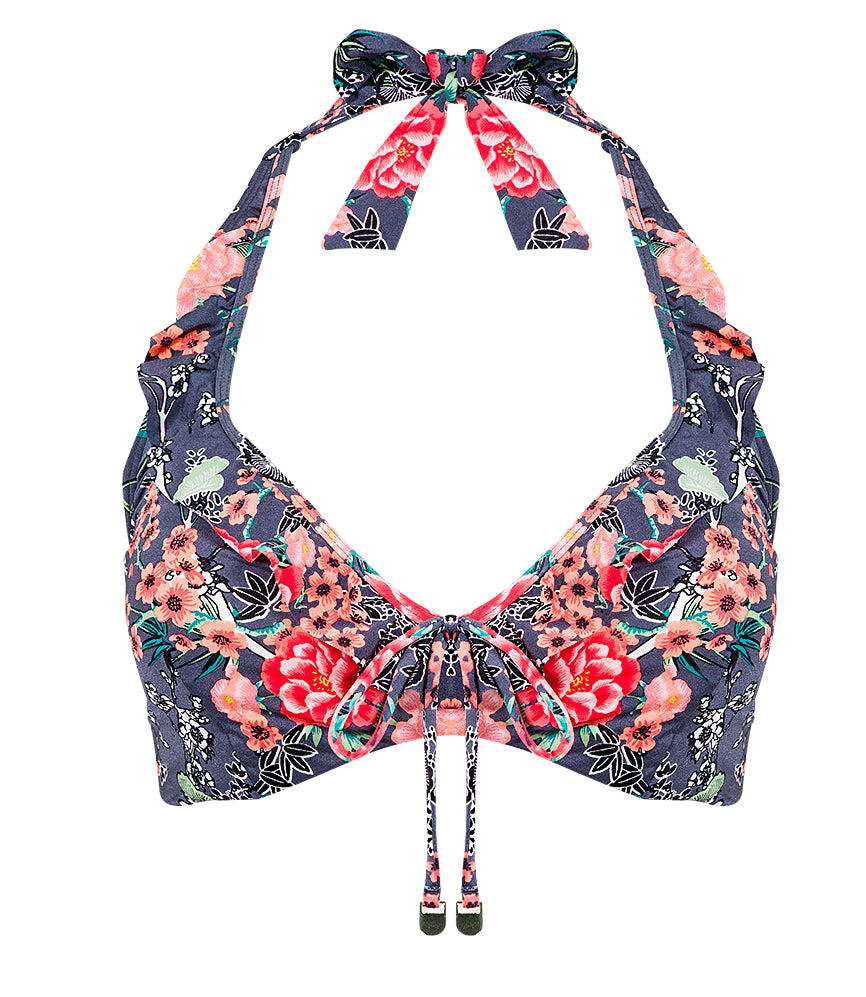 Cherry Blossom Halter Plus Cup Top