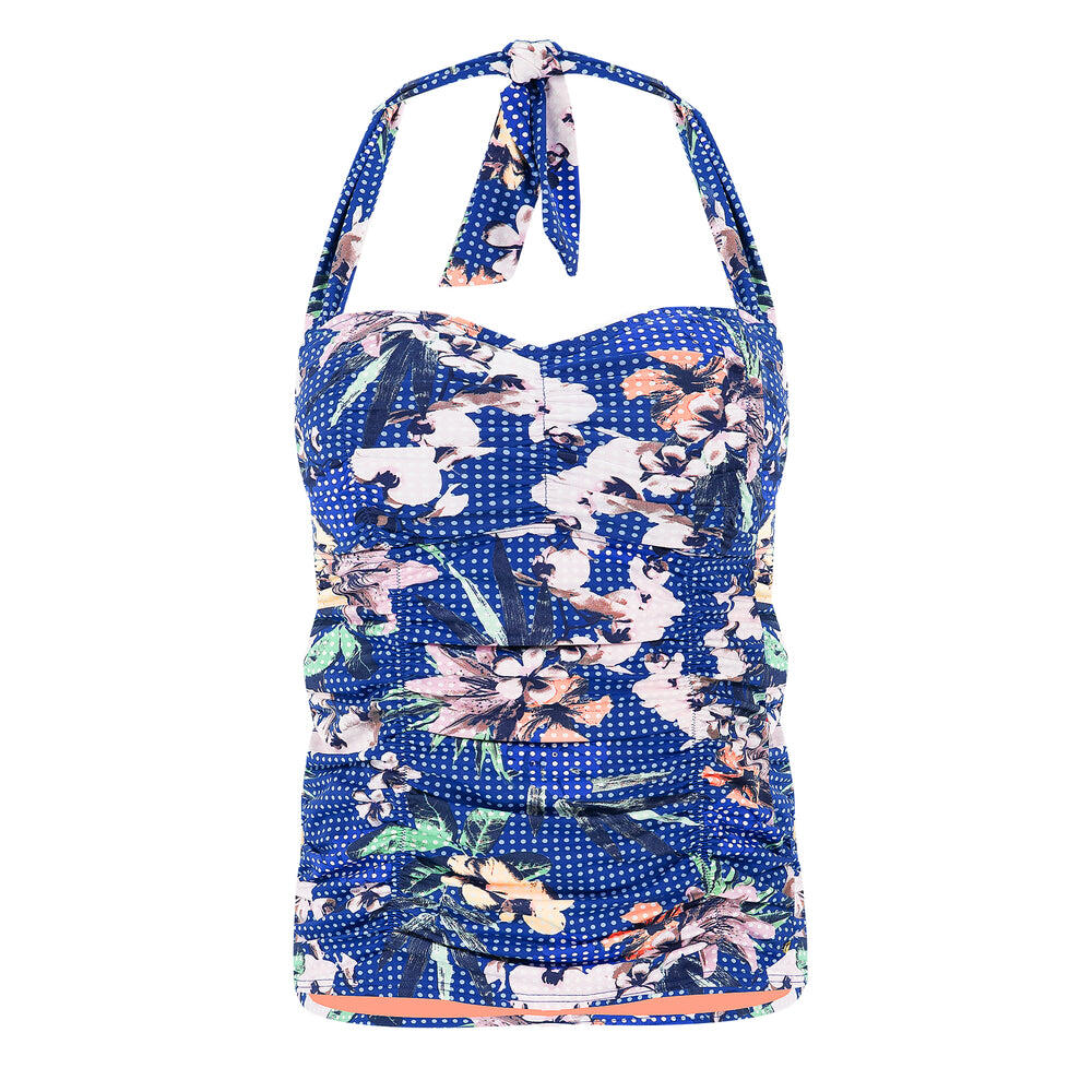 Exotic Floral Tankini Ruched Halter