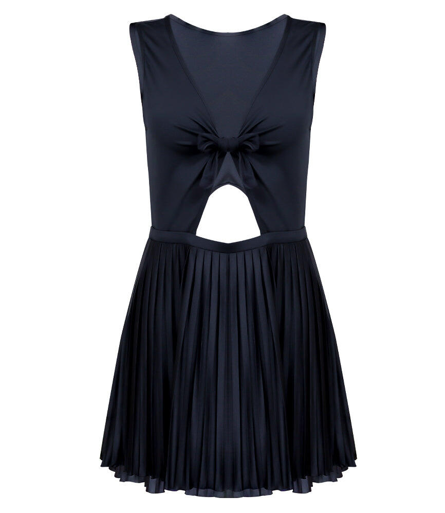Sunrise Pleated Cut Out Dress - Black