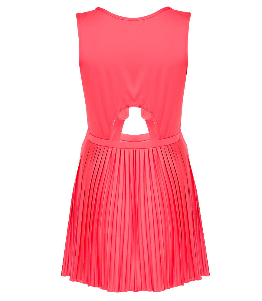 Sunrise Pleated Cut Out Dress - Rouge
