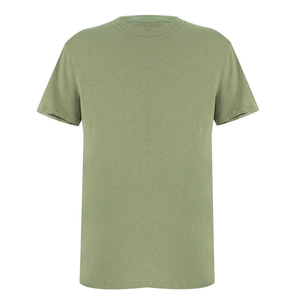 Olive Green T Shirt | Linen Cotton Blend T Shirt