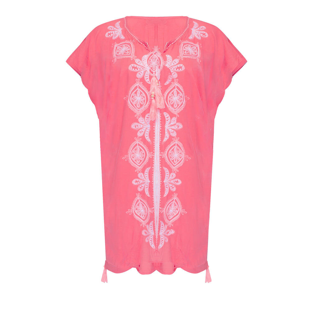 Embroidered Kaftan Midi in Coral Pink