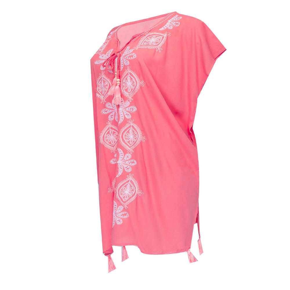 shop Embroidered Kaftan Midi in Coral Pink