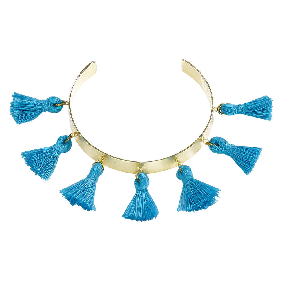 Pom Pom Bracelet Blue