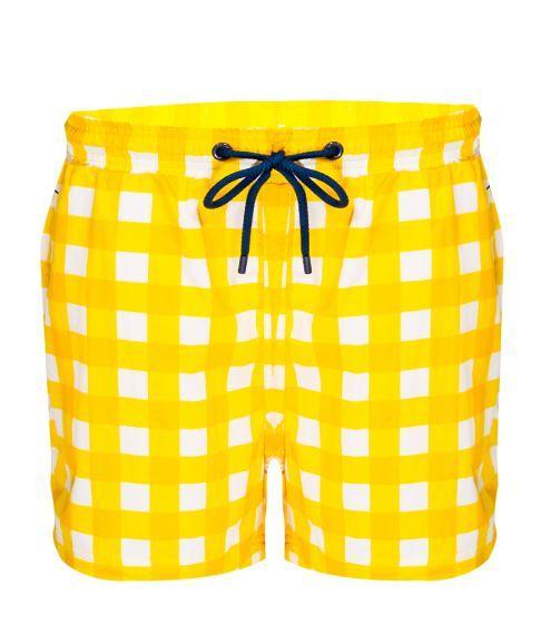 Balmoral Yellow Check Men's Swim Shorts