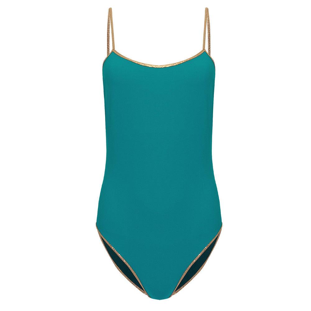 Bridgehampton Reversible One Piece Turquoise/Dark Green