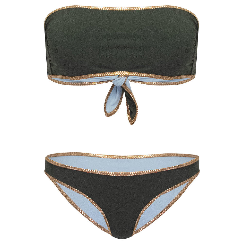 Hampton Bandeau Reversible Bikini Set Aquamarine/Jungle