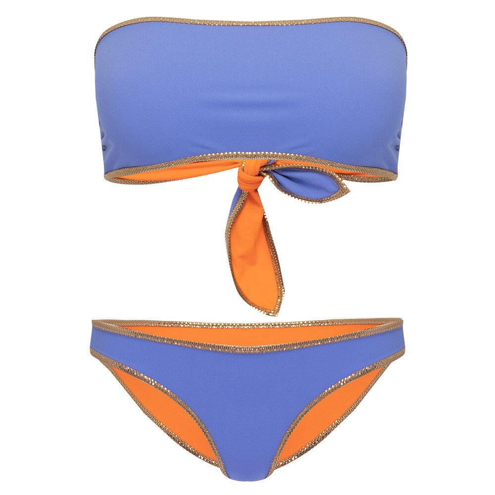 Hampton Bandeau Reversible Bikini Set Lilac/Orange