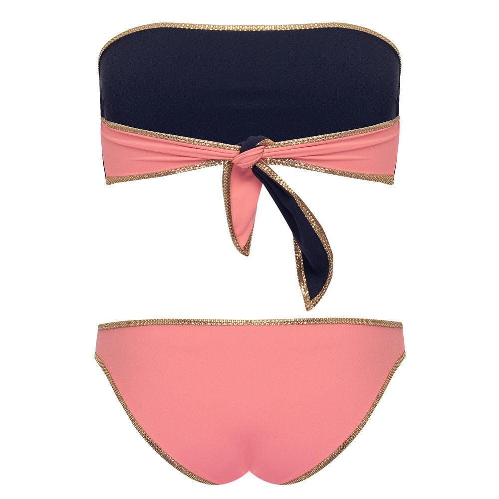Hampton Bandeau Reversible Bikini Set Pink/Dark Blue