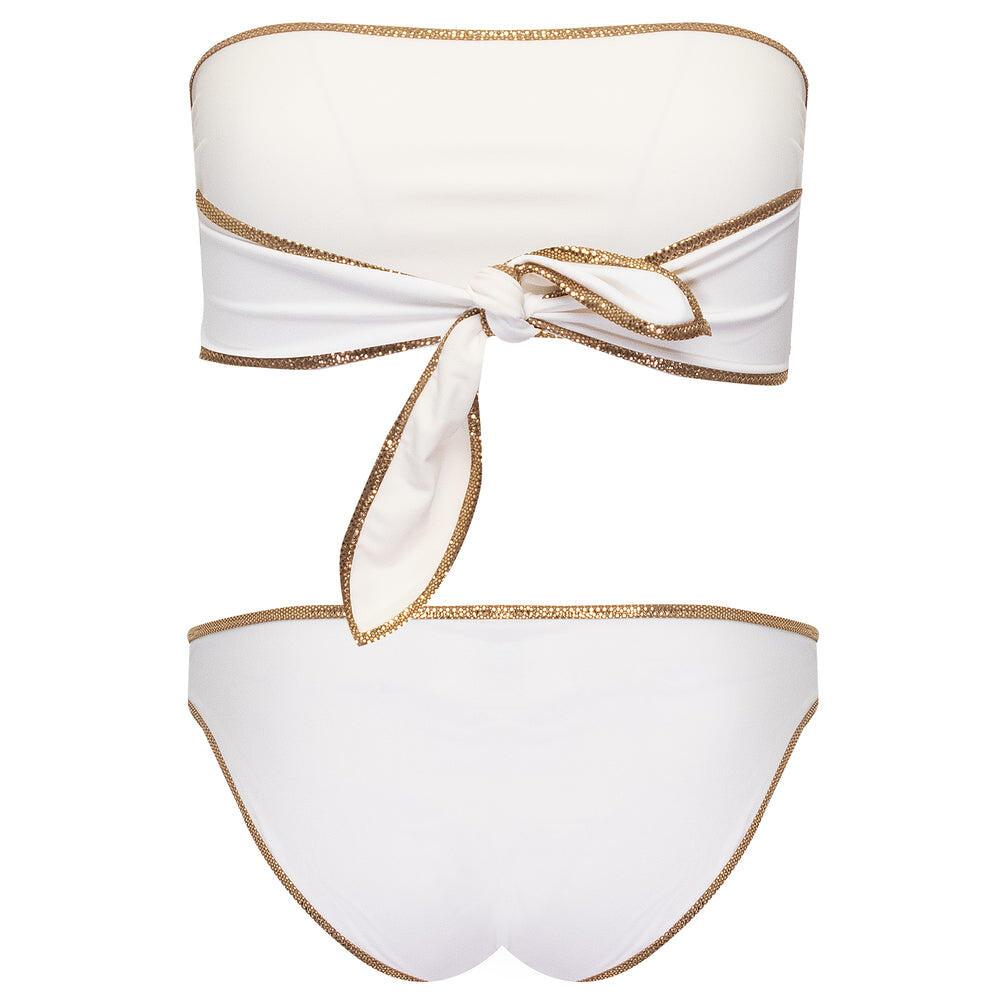 Hampton Bandeau Reversible Bikini Set White/Ivory