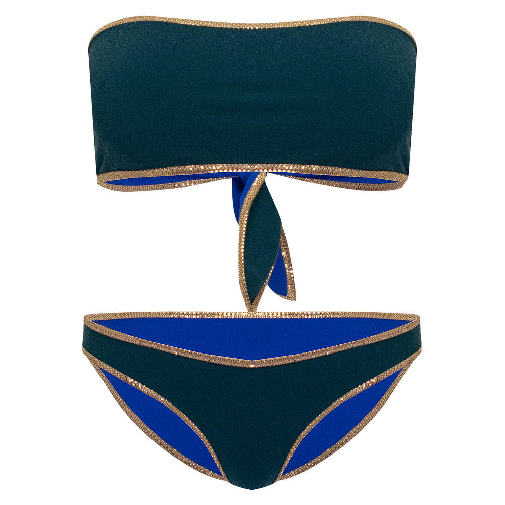 Hampton Bandeau Reversible Bikini Set Dark Green/Blue
