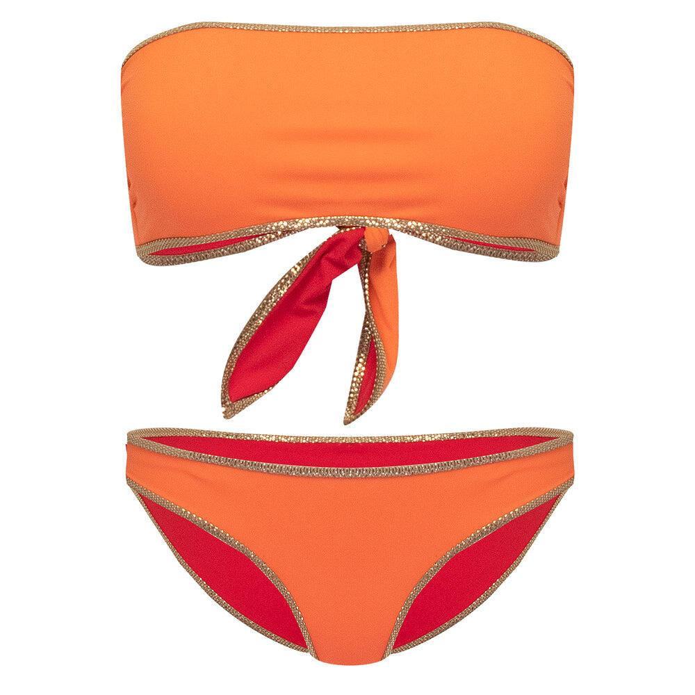 Hampton Bandeau Reversible Bikini Set Orange/Red