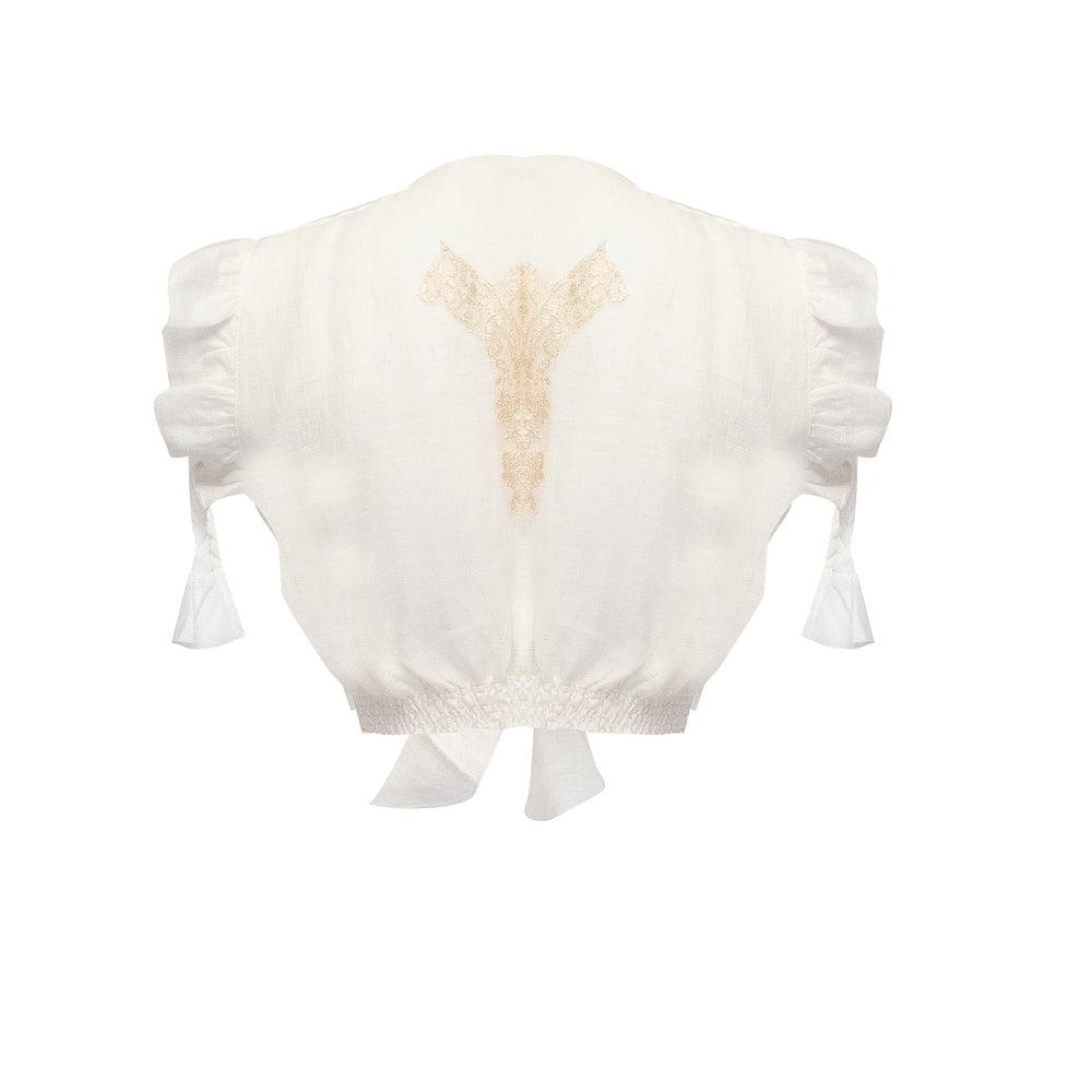 Kim Crop Top Linen Ivory