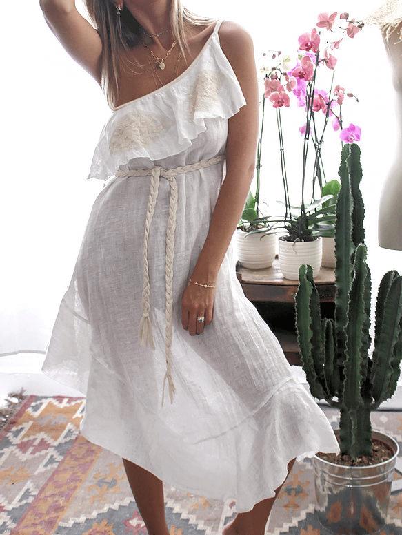 Lila Dress Linen Ivory