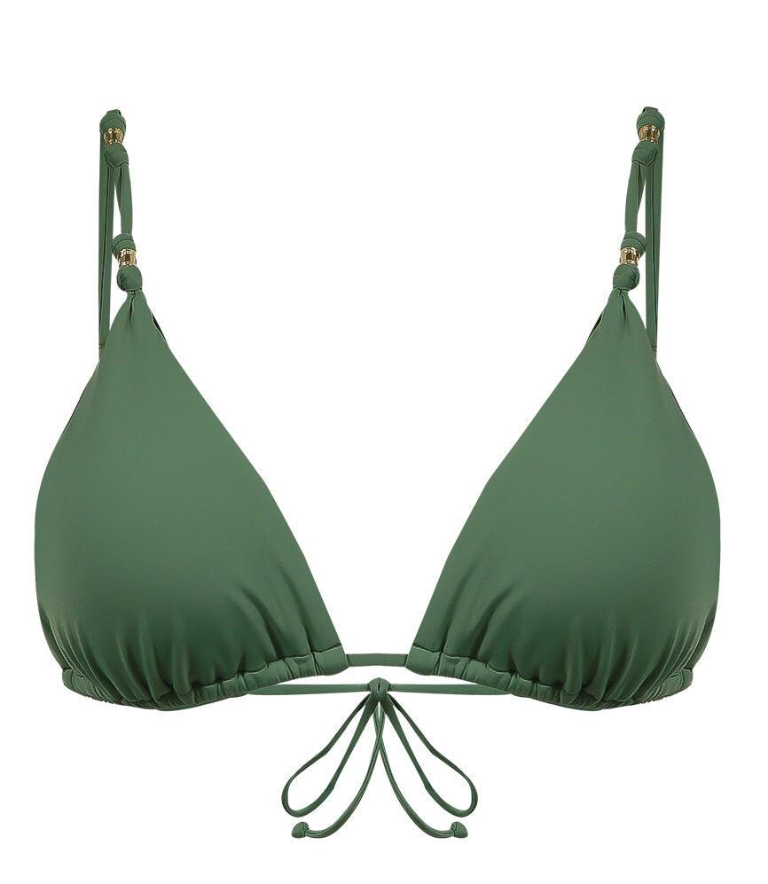 Solid Shaye Parallel Triangle Bikini Top Olive