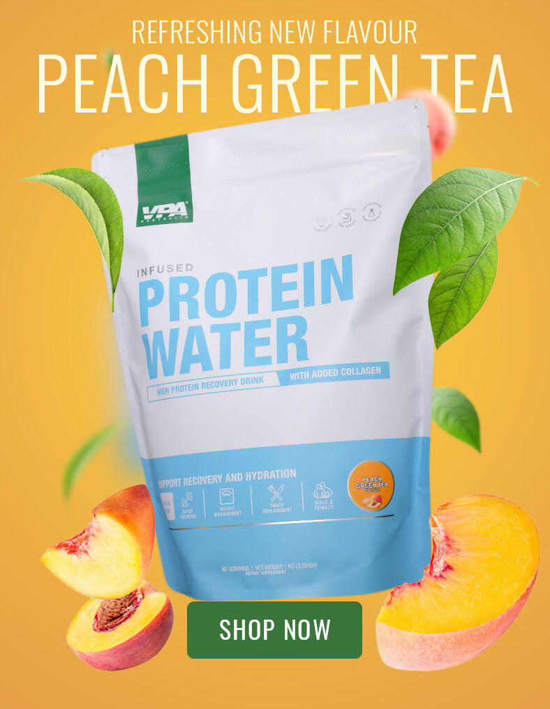 refreshing new peach green tea protein water flavour. VPA Australia