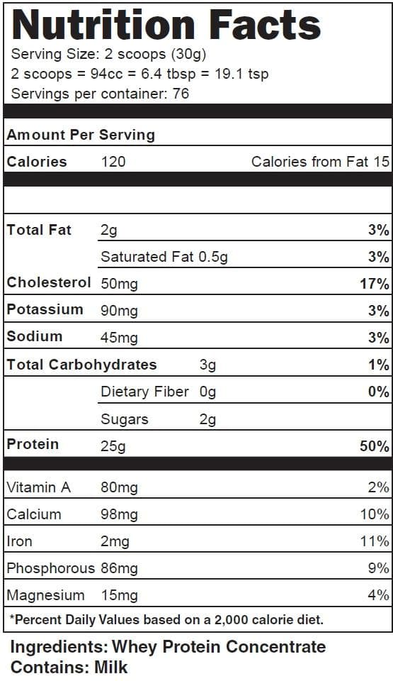 Naked Whey Protein Nutritional Facts