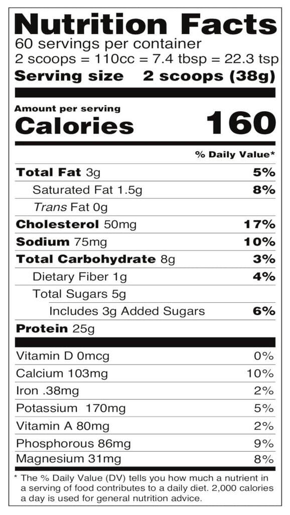 chocolate grass fed whey nutrition facts