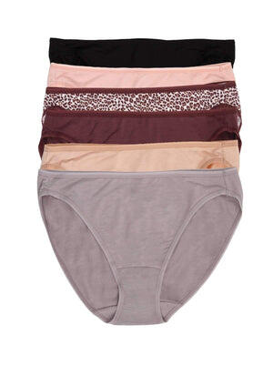 Jezebel So Smooth Hi Cut Panty 6-Pack color-plum neutral combo