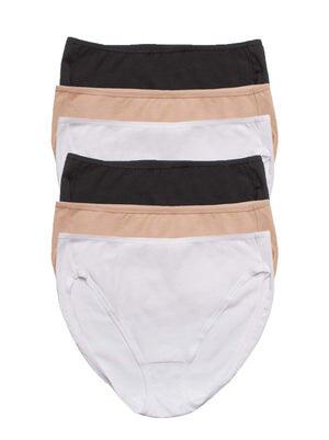 full coverage hi cut panty 6 pack color-white bare black