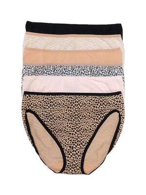 Felina Cotton Stretch Hi Cut Panty 6-Pack color-animal neutrals