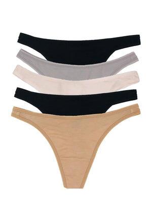 Felina So Smooth Low Rise Bikini 5-Pack color-neutrals