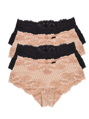 Paramour by Felina Stripe Delight Hipster 4-Pack color-black fawn combo