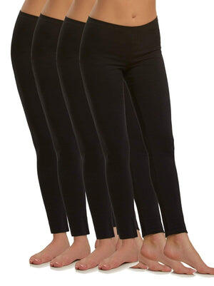 Felina Cotton Modal Legging 4-Pack color-black